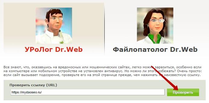 проверка с помощью dr web