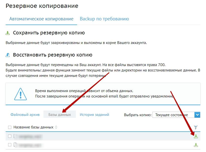 бэкап базы данных через хостинг