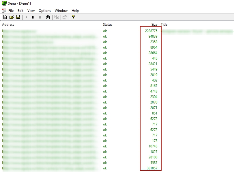 размер кода сайта через ксену