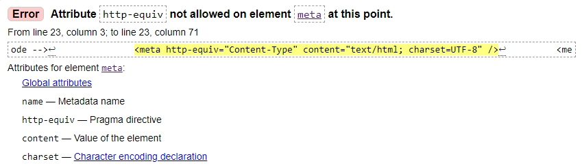 Error Attribute http-equiv not allowed on element meta at this point