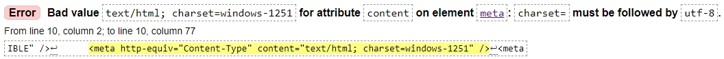 Error Bad value text html charset windows-1251 for attribute content on element meta charset must be followed by utf-8