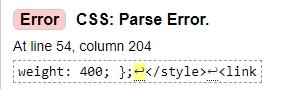 Error CSS Parse Error