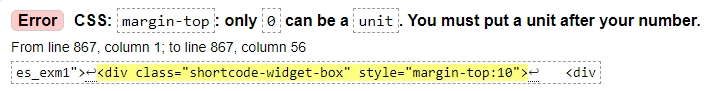 Error CSS margin-top only 0 can be a unit You must put a unit after your number